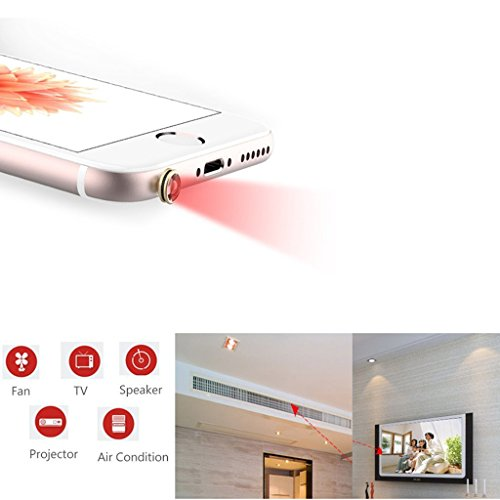 MagiDeal 3.5mm Audio Inteligentes IR De Control Remoto para Smartphone iPhone 5 6 6s Plus - Blanco Azul