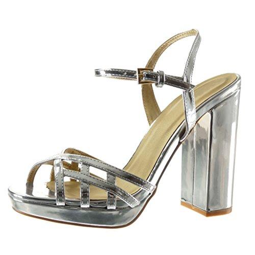 Angkorly - damen Schuhe Sandalen - Plateauschuhe - String Tanga - Multi-Zaum - Schleife Blockabsatz high heel 12 CM - Silber