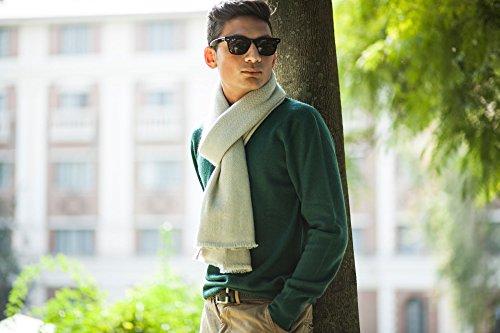 100% Cashmere Reversible Scarf, Off-White Creme, Thick 26/2 Yarn Mongolian Cashmere Scarf, Woven © Moksha Cashmere