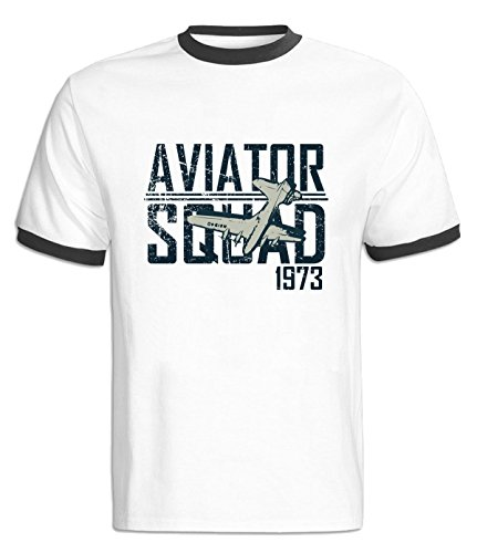 LiaoYang Aviator Squad Contrast Color T-Shirt For Mens M Black (Barry Reynolds Fishing)