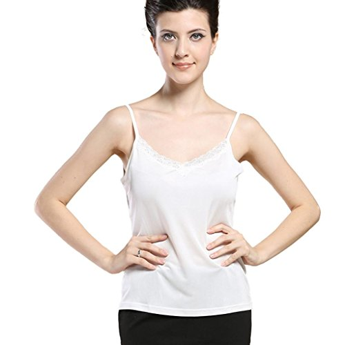 Forever Angel Women's 100% Pure Silk Knitted Lace Camisole Top White Size L (Knit Silk Underwear)