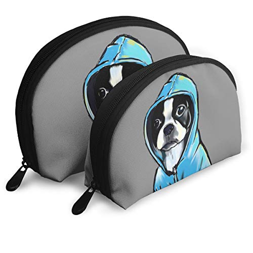 MFILM FVAFN Boston Terrier Makeup Storage Bag, Portable Half Moon Handy Organizer Pouch for Women ()