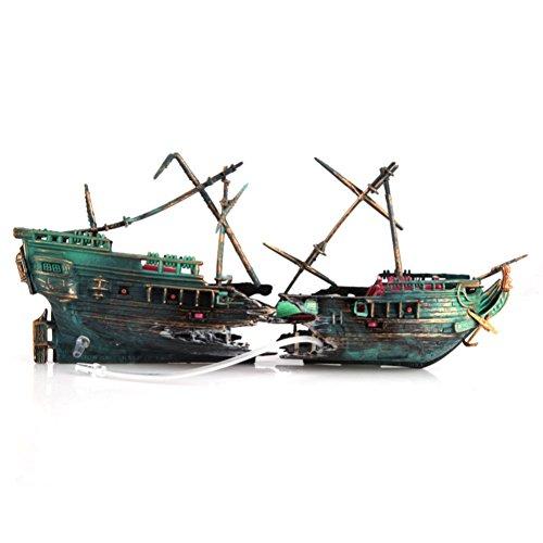 PanDaDa Resin Plastic Aquarium Decoration Broken Separated Shipwreck Ship Fish Tank Ornament Landscape Decor