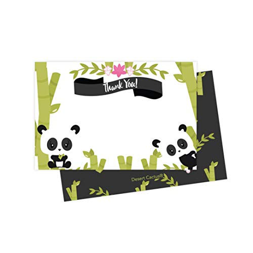 Panda Thank You Cards (25 Count) With Envelopes & Seal Stickers Bulk Birthday Party Bridal Blank Graduation Kids Children Boy Girl Baby Shower (25ct) ()