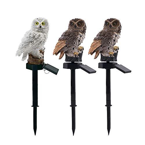 LED Solar Owl For Landscape Light For Owl Shape Resin Light Automatic Lighting Waterproof Garden Lawn Lamp 3 Pcs ()