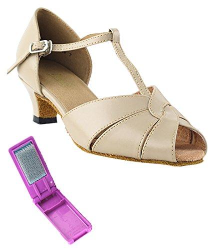 Chaussures De Danse Salsa Tango Latin Très Belle Salle De Bal Pour Les Femmes 6006 - 1,3 Pouces Talon + Bundle De Brosse Pliable En Cuir Beige