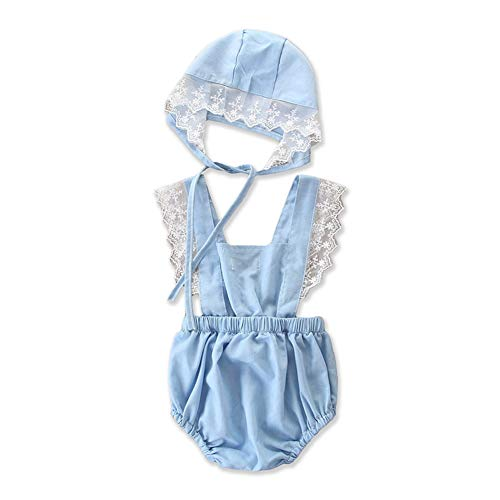 Blue Bodysuit Without Head (Baby Girl Romper Lace Sleeve Jumpsuit Blue Bodysuit Backless Sunsuit with Headband for 0-24mos (Blue, 6-12)