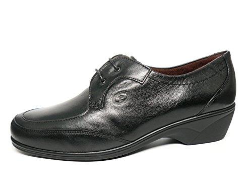 1012 Piel Pitillos Zapatos Cordones Mujer Negro Color Cómodos 100 I6ITvq0z