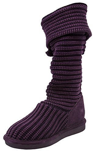 Wool Mid Boot Bearpaw Calf Plum Knit Women's Tall pq77xw1ZHX