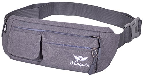 Cheap Woogwin Waist Bag Fanny Pack Travel Running Hiking Bags Water Resistant Sling Chest Shoulder Bag Phone Holder Running Belt With Adjustable Band (Canvas Gray)