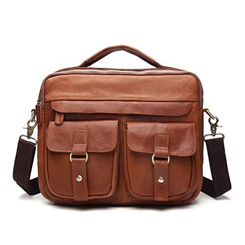 Deluxe Leather Briefcase Expandable - HWX Men Leather Deluxe Mens Business Briefcase Laptop Messenger Bag Business Computer Bag Briefcase Ideal Commuter Bag Work Travel (Color : A, Size : 26cm32cm9cm)
