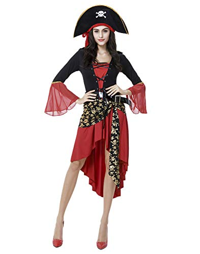 HDE Women's Pirate Halloween Costume Long Sleeved Dress with Hat & Belt Caribbean Buccaneer Outfit Red for $<!--$9.99-->