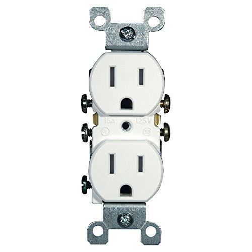 Amp 15 White (Leviton 5320-WMP 15 Amp, 125 Volt, Duplex Receptacle, Residential Grade, Grounding, 10-Pack, White)