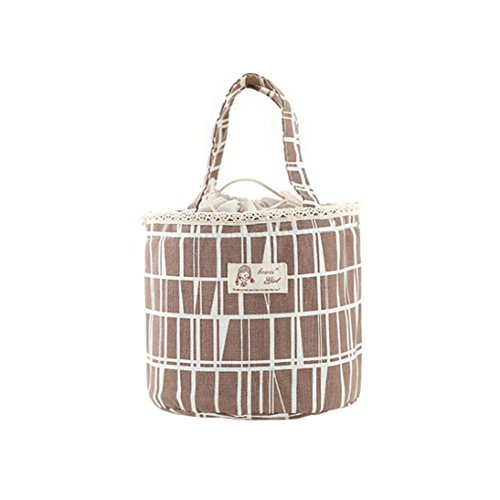 Thermal Insulated Lunch Box Tote Cooler Bag Bento Pouch Lunch Container Bucket Bag Tie (Coffee) (Bottle Gripper Feeding)