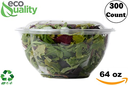 64oz Salad Bowls To-Go with Lids and Cutlery (300 Count) - Clear Plastic Disposable Salad Containers | Lunch, Salads, Fruits, Leak Proof, Airtight, Fresh, Meal Prep, Fork, | Rose Bowl Container (64oz)