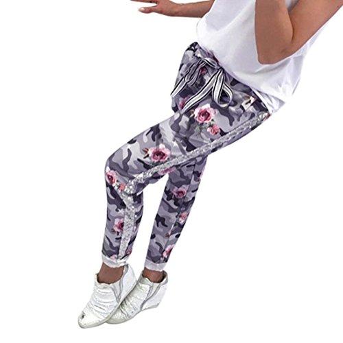 Moda Con Pantaloni Grau Jogging Eleganti Sportivi Grazioso Tempo Fashion Militari Training Della Tuta Donna Vintage Estivi Fiore Coulisse Libero Stampa 6T1q57w