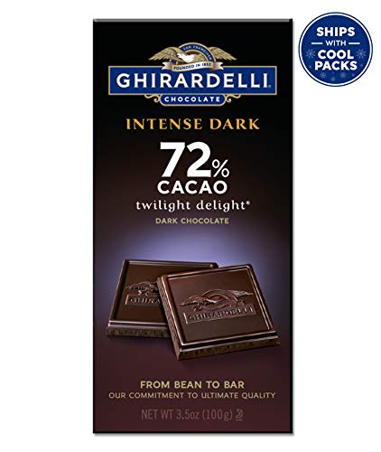 - Ghirardelli Chocolate Intense Dark bar, Twilight Delight 72% Cacao, 3.5 oz Bars
