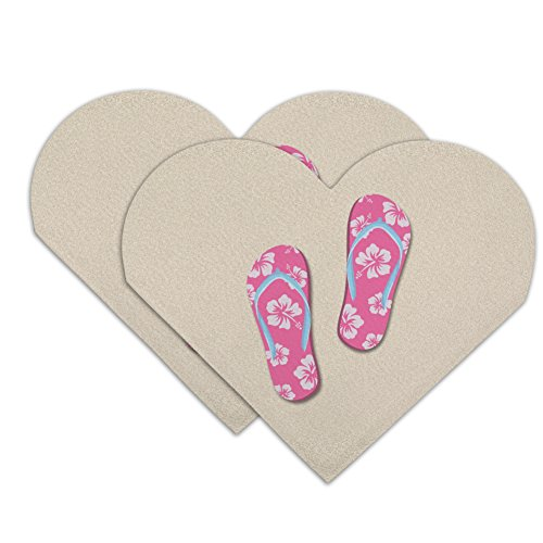 (Pink Flip Flops on Sand with Hibiscus Flowers Sandals Beach Heart Faux Leather Bookmark - Set of 2 )