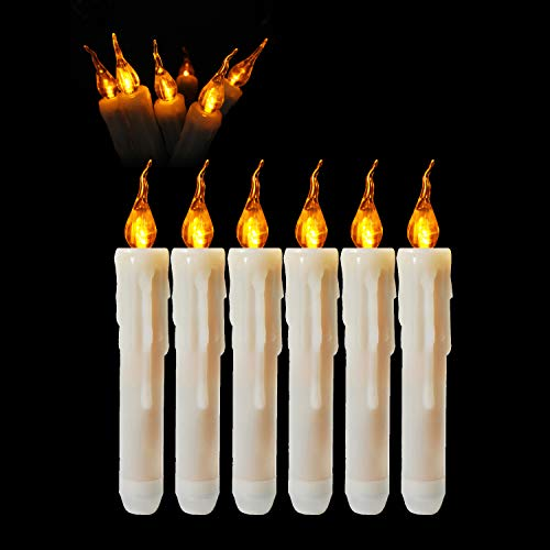 Collect Beauty 12pcs Short Taper Candles Dripless Amber Flickering Battery Operated Hurricane Candle Tube for Christmas Decorative Window Holiday Wall ()