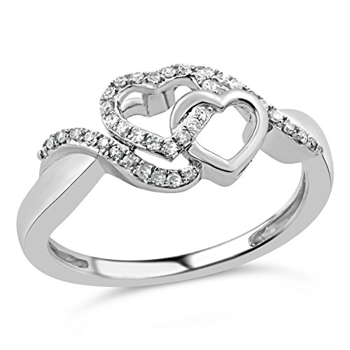 Diamond Promise Ring in Rhodium Plated Sterling Silver 1/10 cttw by Diamond Classic Jewelry