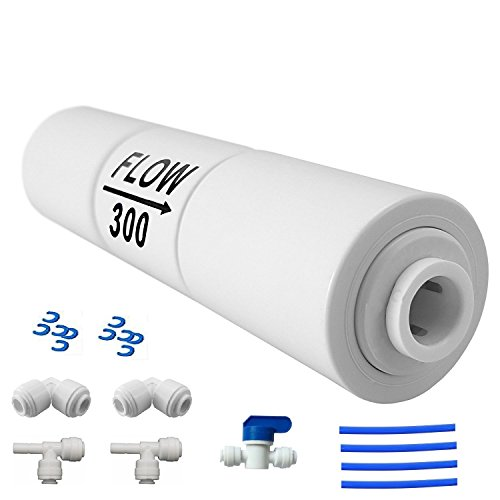 Lemoy Reverse Osmosis Flow Restrictor with Quick Connect Fitting, 50 GPD Flow Restrictor 1/4 inch Quick Connect(1 ball valve+2 Tee union+2 L connect+tube)