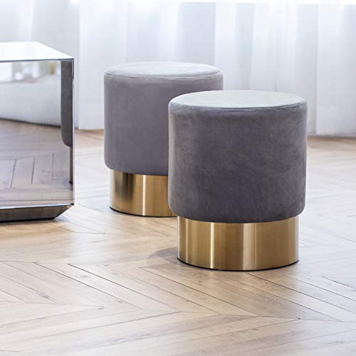 Art Leon Small Round Velvet Ottoman, Upholstered with Gold Plating Base Footstool Rest Extra Seat, Pack of 1 (Gray)