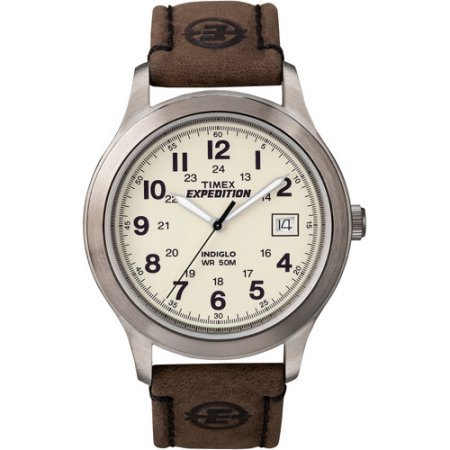 Timex T49870 Mens Expedition Metal Field Watch, Brown Leather Strap