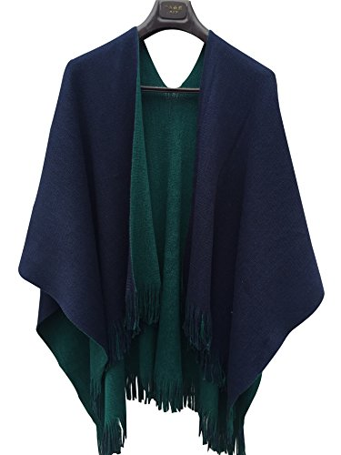 ilishop Women's Winter Knitted Cashmere Poncho Capes Shawl Cardigans Sweater Coat Navy-Green Free
