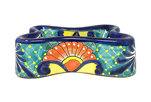 Mexican Talavera Pottery 11 inch Dog Bone Hand Painted Extra Large Dog Bowl