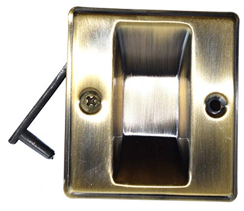 Cal Royal Antique Brass - Pocket Door Pull- (Economy)-Passage - Antique Brass for 1 3/8 inch Thick Door