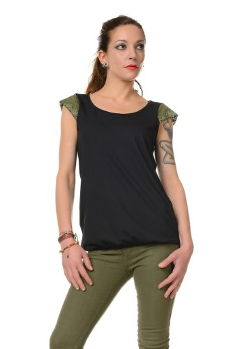 Summer Nero Verde Donna in Gothic pizzo girocollo t Camicia Top shirt 3hit 1qRWg8