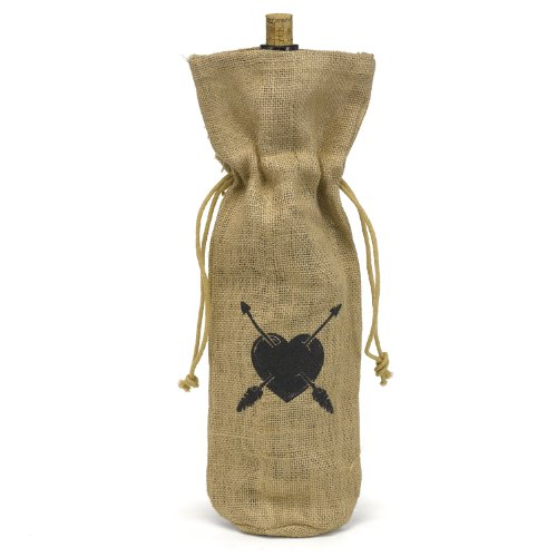 Burlap Wine Bag Heart & Arrow (Hortense B. Hewitt Burlap Wine Bag, Heart and Arrow)