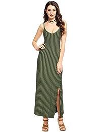 Zeagoo Women's Summer Spaghetti Strap Vertical Striped Side Split Long Maxi Dress