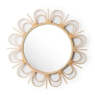 Espejo de pared decorativo redondo Flor, ratán natural, estilo étnico & boho chic, nórdico, bonito y moderno, ligero, para pasillo baño o entrada, ratán, color natural, 56x56x2 cm.