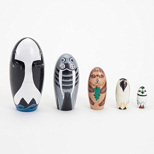 Bits and Pieces - ''Willy and Friends - Matryoshka Dolls - Wooden Russian Nesting Dolls - Sea Life Animal Figurines - Whale, Walrus, Penguin - Stacking Dolls Set of 5 by Bits and Pieces (Image #1)