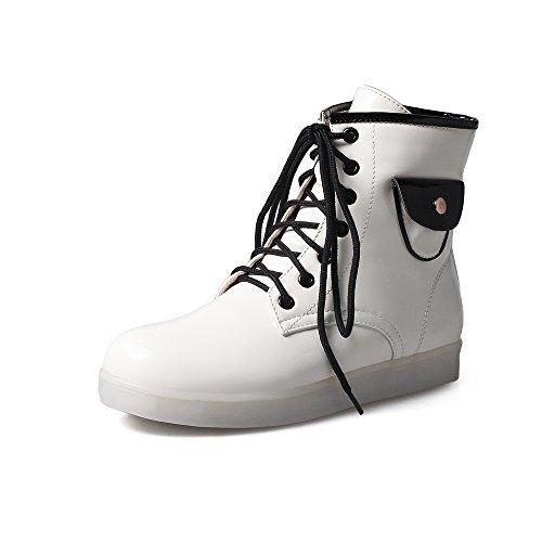 Fashion Heel Moda Zapatos de Cordones Luminosos con LED para mujer blanco