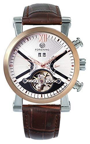 Fanmis Mens Automatic Mechanical Brown Leather White Dial Luxury Men