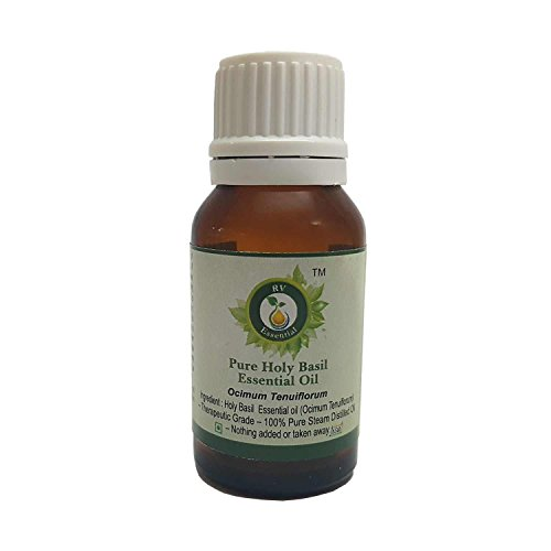 R V Essential Pura albahaca santa esencial 15ml de aceite (0.507 oz)- Ocimum tenuiflorum (100% puro y natural de Grado...