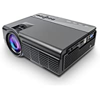 Mini Projector, Multimedia Home Theater Video Projector with 2100 Lumens 30,000Hours Support HDMI VGA USB AV SD Connected with Laptop/iPad Smartphone Xbox for Movie Game Party, black