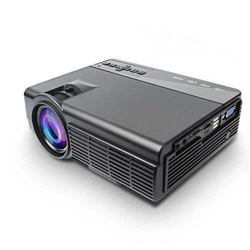 Mini Projector, Multimedia Home Theater Video Projector with 2100 Lumens 30,000Hours Support HDMI VGA USB AV SD Connected with Laptop/iPad Smartphone Xbox for Movie Game Party, black by PanStarslight