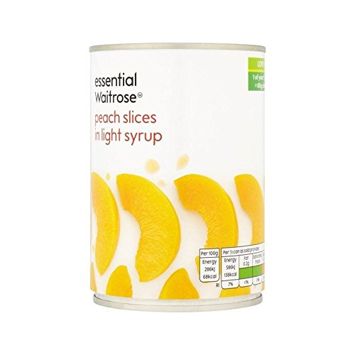Peach Slices in Light Syrup essential Waitrose 410g - Pack of 4