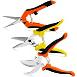 RIOGOO 3 Pack Gardening Shears Hand Pruner Pruning Shears Stainless Steel Bypass Garden Clippers