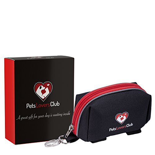 Dog Lovers Club - Dog Poop Bag Holder | Easily Dispense Waste Bags | Effortlessly Carry Cards, Keys | Attach to Leash & Harness with Secure Velcro Straps | Avoid Accidents with Reflective Lines | Best for Daily Walks