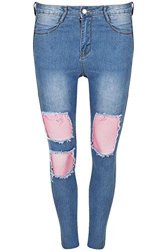 jeans clair coupe Coupe Small UK bleu bleu dlav 8 jeans moulant UK 14 TAILLE 8 genou shorty toile Be DEVANT FEMMES DCHIRE jean RSILLE skinny Jealous Cffqw1P