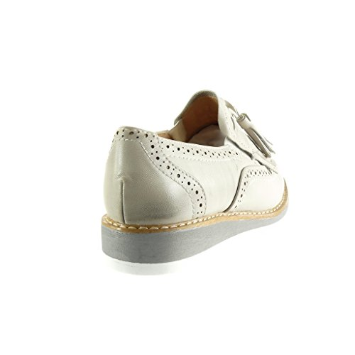 Angkorly - Scarpe da Moda scarpa derby Mocassini slip-on donna frange pon pon perforato Tacco zeppa 3 CM - Grigio