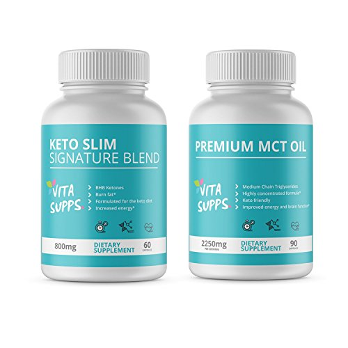 Keto Slim & Pure MCT Oil combination bundle - The perfect Keto Weight Loss Pack – 1 Month Super Supply – Burn Fat Instead Of Carbs – Ketotis Diet Supplement ()