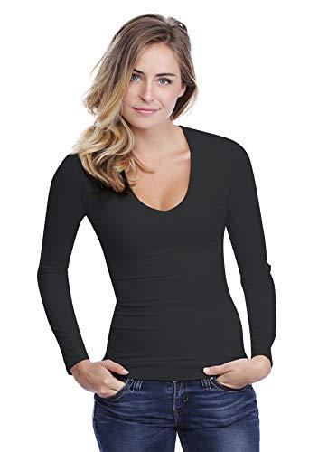 Rendez Col shirt Sylvia Vous Modal En V Manches 05 Paris Longues T Noir IqqrgdTw