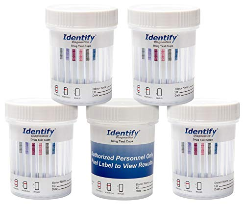5 Pack Identify Diagnostics 6 Panel Drug Test Cup Testing Instantly for 6 Different Drugs: (THC), (OXY), (MOP), (COC), (BZO), (AMP) #ID-CP6 by Identify Diagnostics