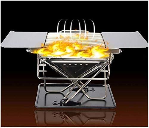 Barbecue au Charbon de Bois en Acier Inoxydable Grill Camping en Plein air Pliant Poêle de Cuisson Portable