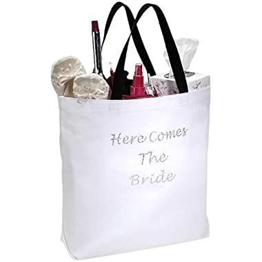Darice VL1419, Here Comes The Bride Tote, 18-Inch by 16-Inch by 4-Inch, White